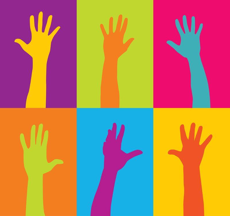 Hands raised volunters