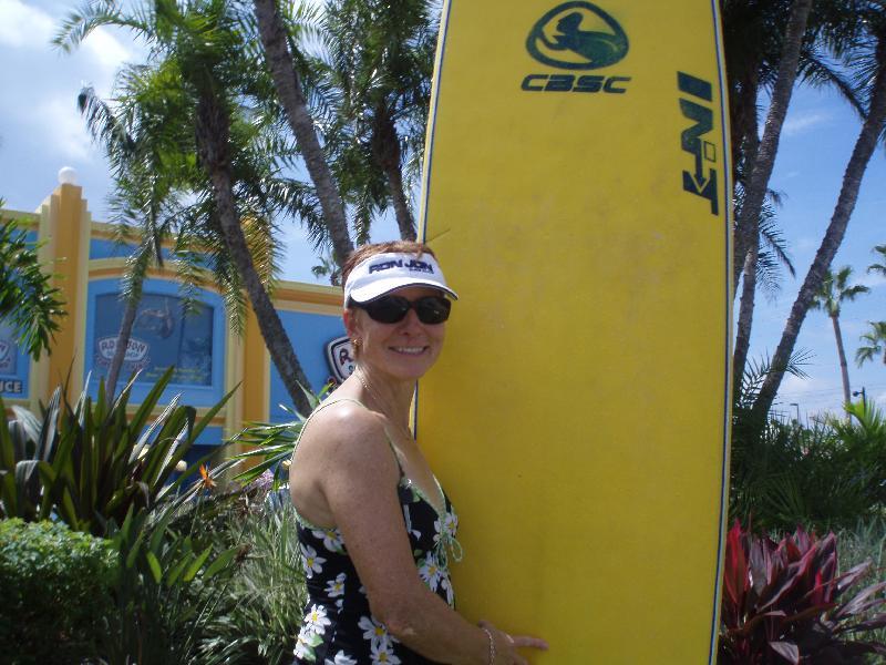 Mom surfs