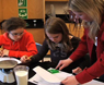 a teacher and her students work on a science lab project