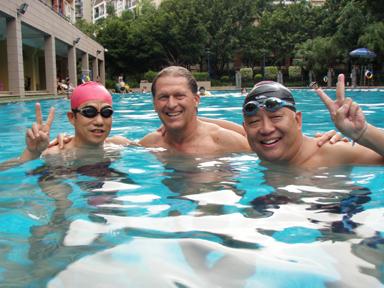 friends swimming