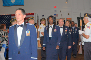 Lt. Col. John Kanuch, Lt. Col. Angernette Coy-Coates, and CMSgt. Jeffrey Cheney lead the honorees into the USAF Ball, which many Orange County-Gen. Curtis LeMay Chapter members attended.