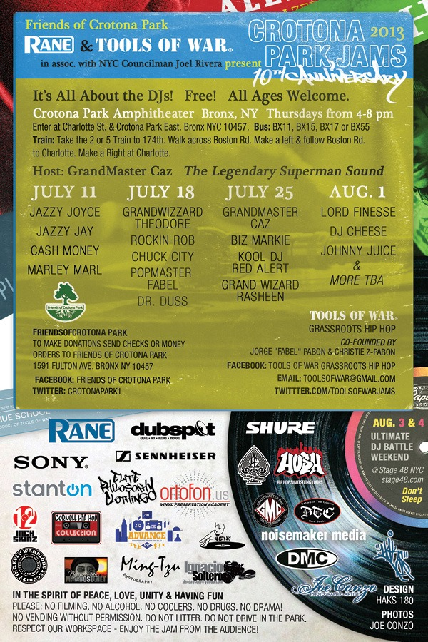 July 11, 18, 25 & Aug. 1: 10th Anniv. of the Crotona Park Jams, Bronx NYC