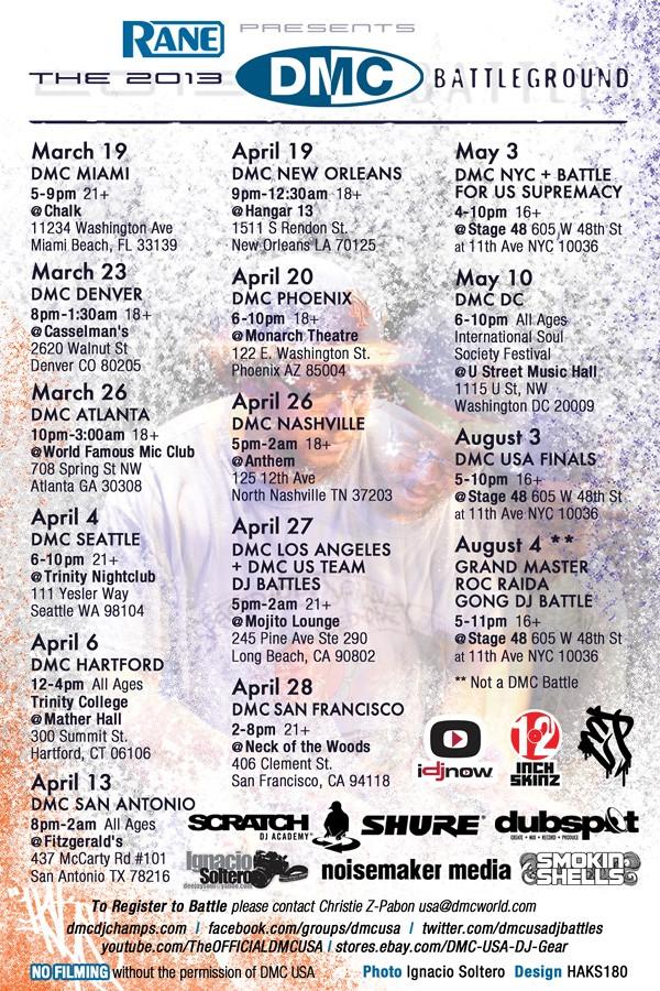 2013 DMC American Battleground Tour Flyer by Haks-180 Photo of DJ Precision by Ignacio Soltero