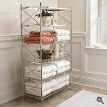 open shelf storage for bathroom