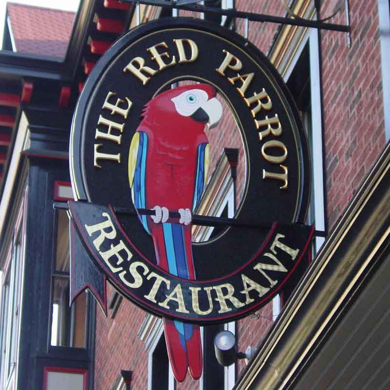 Red Parrot Sign