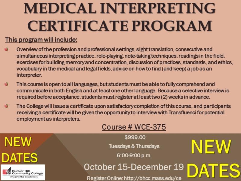 New Dates Become A Medical Interpreter An Esl Teacherjoin Our