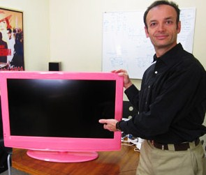Tony with pink tv
