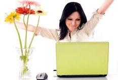 girl on computer - happy