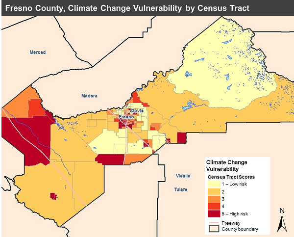 Climate Change Vulnerability Map, Fresno County