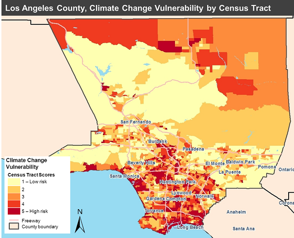 Climate Change Vulnerability Map, Los Angeles County