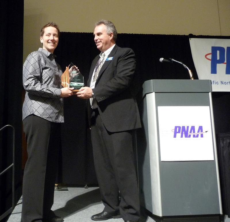 Laura Hopkins Accepting Chairman's Award at PNAA Conference
