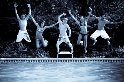 Kids Jump in Pool