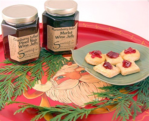 Oatmeal crackers with wine jelly