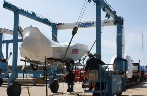 Unloading Boston Whalers