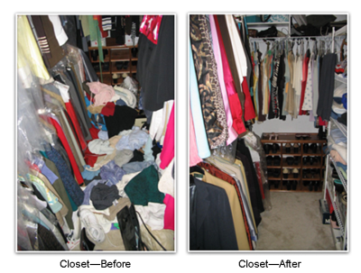 Closet Before After Organization