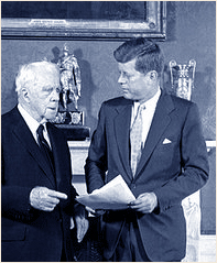 Poet Robert Frost with President John F Kennedy
