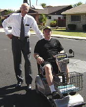 Gerald Hoyer delivering wheelchair to recipient in Mesa, Arizona