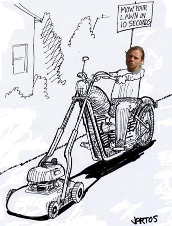 Blake on a motorcycle lawn mower