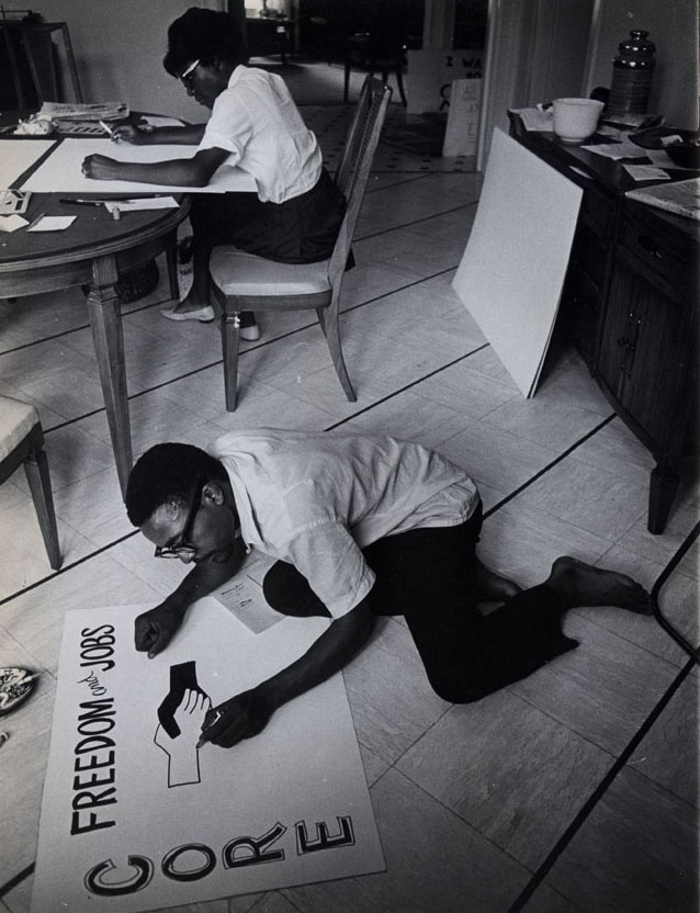 CORE workers making signs, circa 1960s