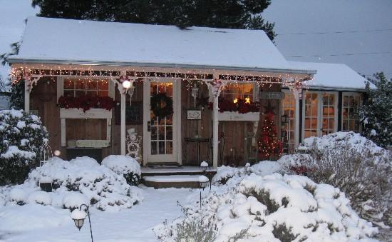snowy cottage
