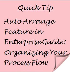 Quick Tip: Auto Arrange Feature in Enterprise Guide: Organizing Your Process Flow