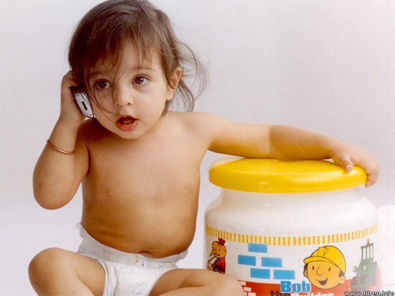 Baby talking on phone