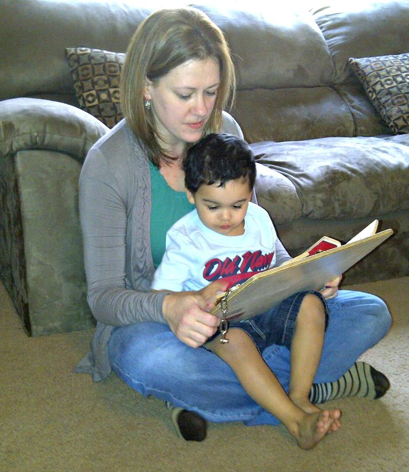 Rachel reading to boy