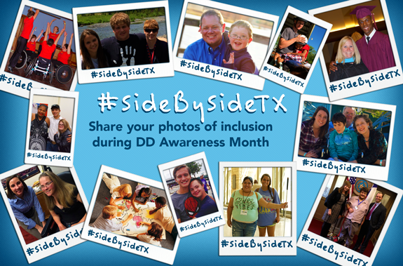 photo showing photos of inclusion for #SideBySideTX campaign for DD Awareness month