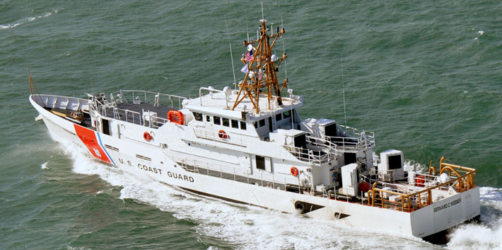 The first Fast Response Cutter, Bernard C. Webber, gets underway off the coast of Grand Isle, La