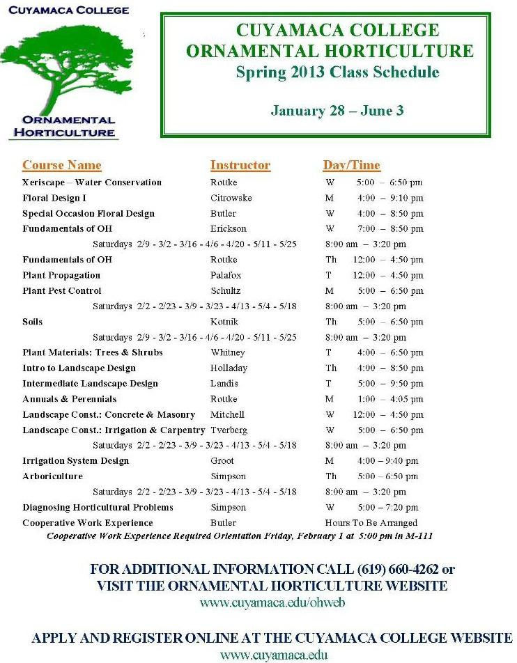 Spring 2013 OH Dept. Schedule