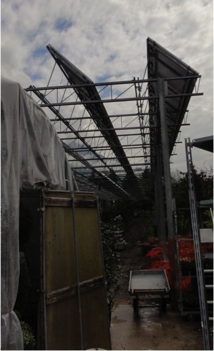 New solar panels being installed at Floricultura Nursery in northern Italy.