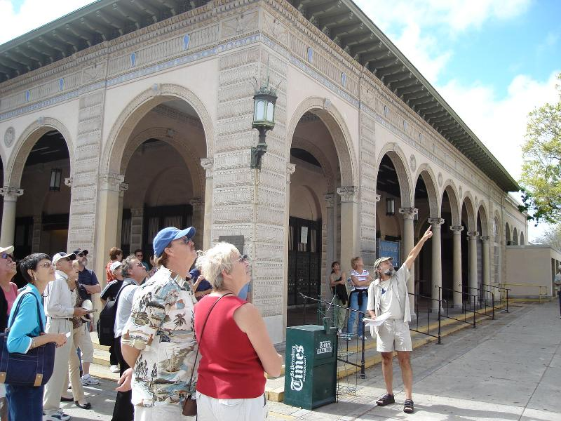 Walking Tour guests in front of Post Office