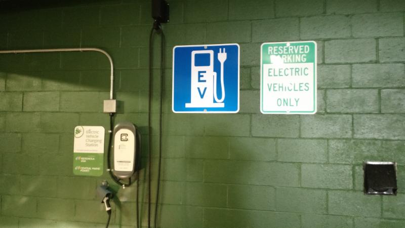 An electric vehicle charger in a parking garage in Portland, Maine image courtesy of Greater Portland Council of Governments
