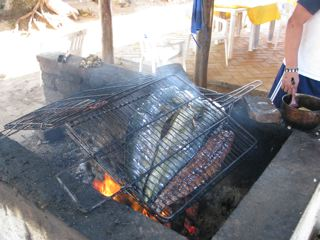 Chacala, Mexico, three fish on the fire
