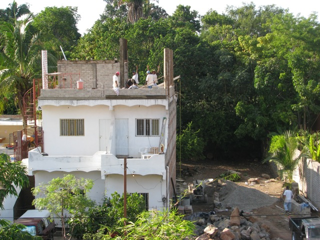 Chacala roof patio from Karla's, men waving