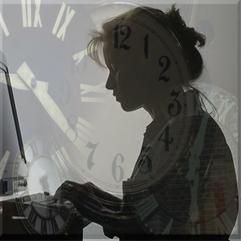 Girl, computer, time