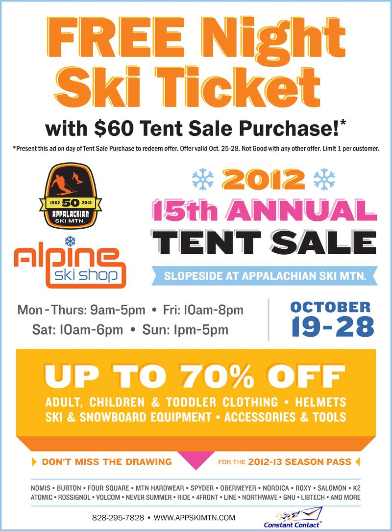 Free Night Ski Ticket with $60 Tent Sale Purchase