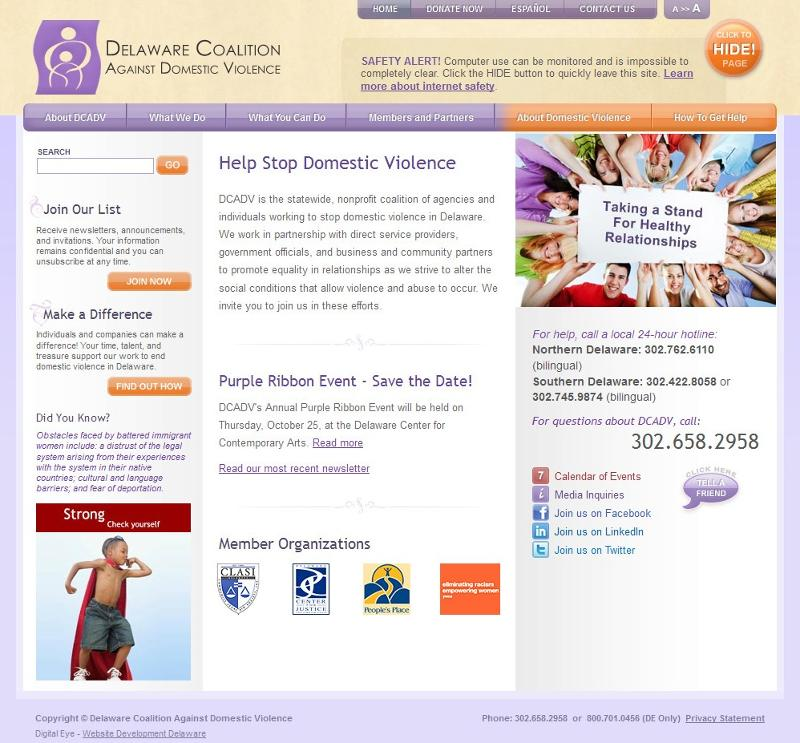 DCADV Website home page