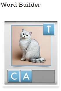 Word Builder Bitsboard game screen shot shows photo of cat with letters to place.
