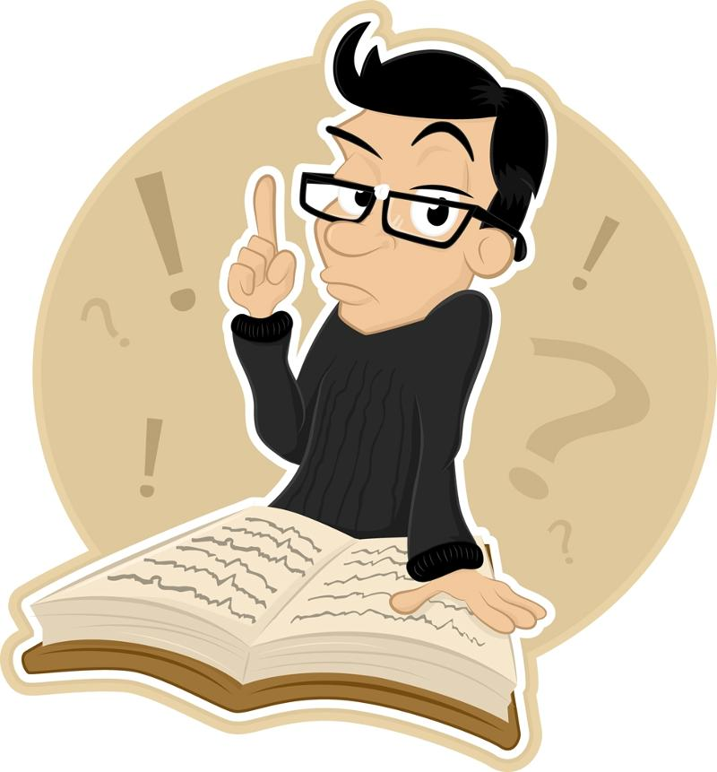 Cartoon of a man with glasses consulting a book and holding up one finger.