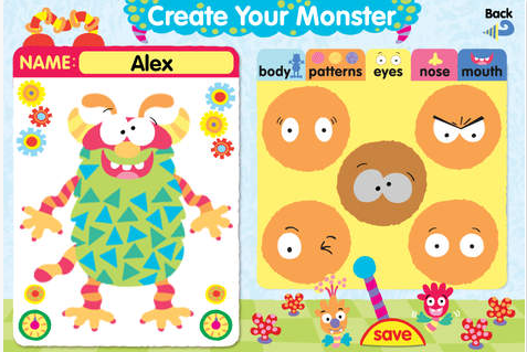 App screenshot of Create Your Monster page.