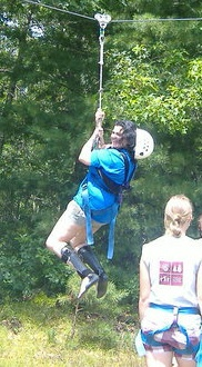 Kristin Jung on the zip line.
