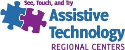 Logo for the Assistive Technology Regional Centers with two puzzle pieces and the words: See, Touch, and Try.