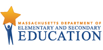 Logo for the Massachusetts Department of Elementary and Secondary Education showing a person holding up a star.