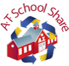 A.T. School Share logo: shows a schoolhouse encircled by recycling arrows.