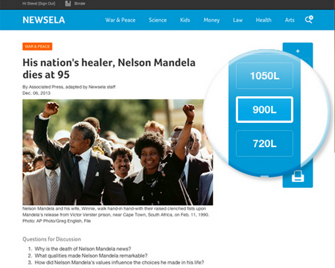 Newsela screen shot showing an article on Nelson Mandela and highlighting lexile reading level choices.