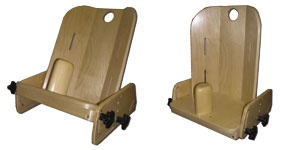 Wooden adjustable corner seat shown in two positions.