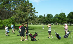 Kids golfing at Ager Golf Course