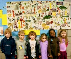 kids with poster