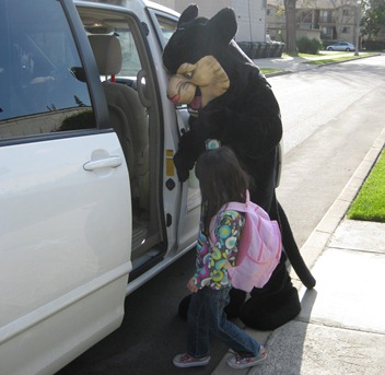 Rocky helps at Parent Pick-Up